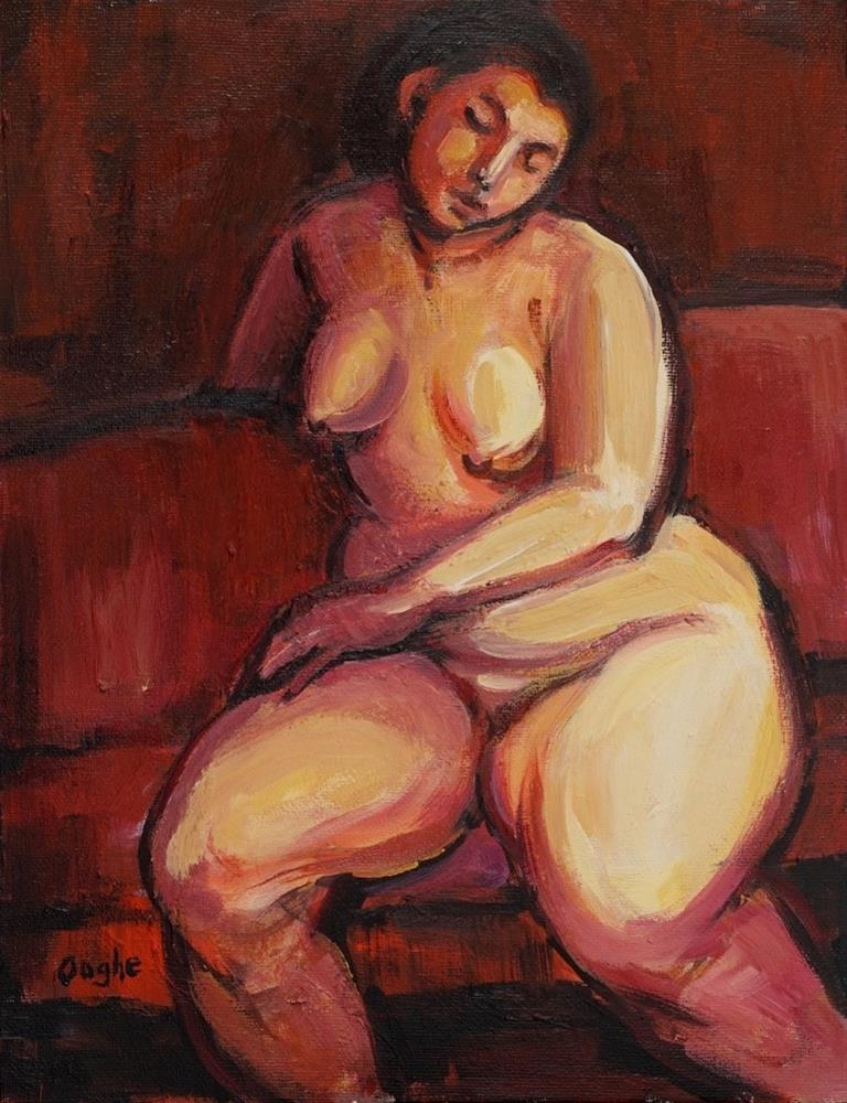 """Woman seated on Red"" original fine art by Angela Ooghe"