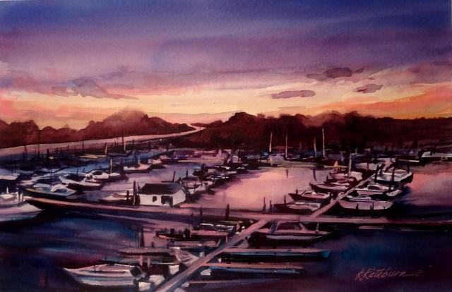 """Day's End at the Marina"" original fine art by Kathy Los-Rathburn"