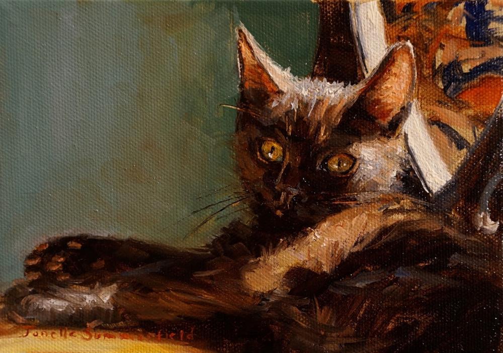 """""""Kitten in the Sun"""" original fine art by Jonelle Summerfield"""