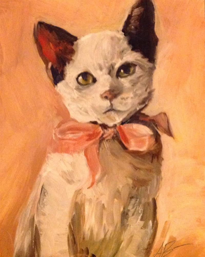 """""""Kitten wearing pink ribbon"""" original fine art by Annette Balesteri"""