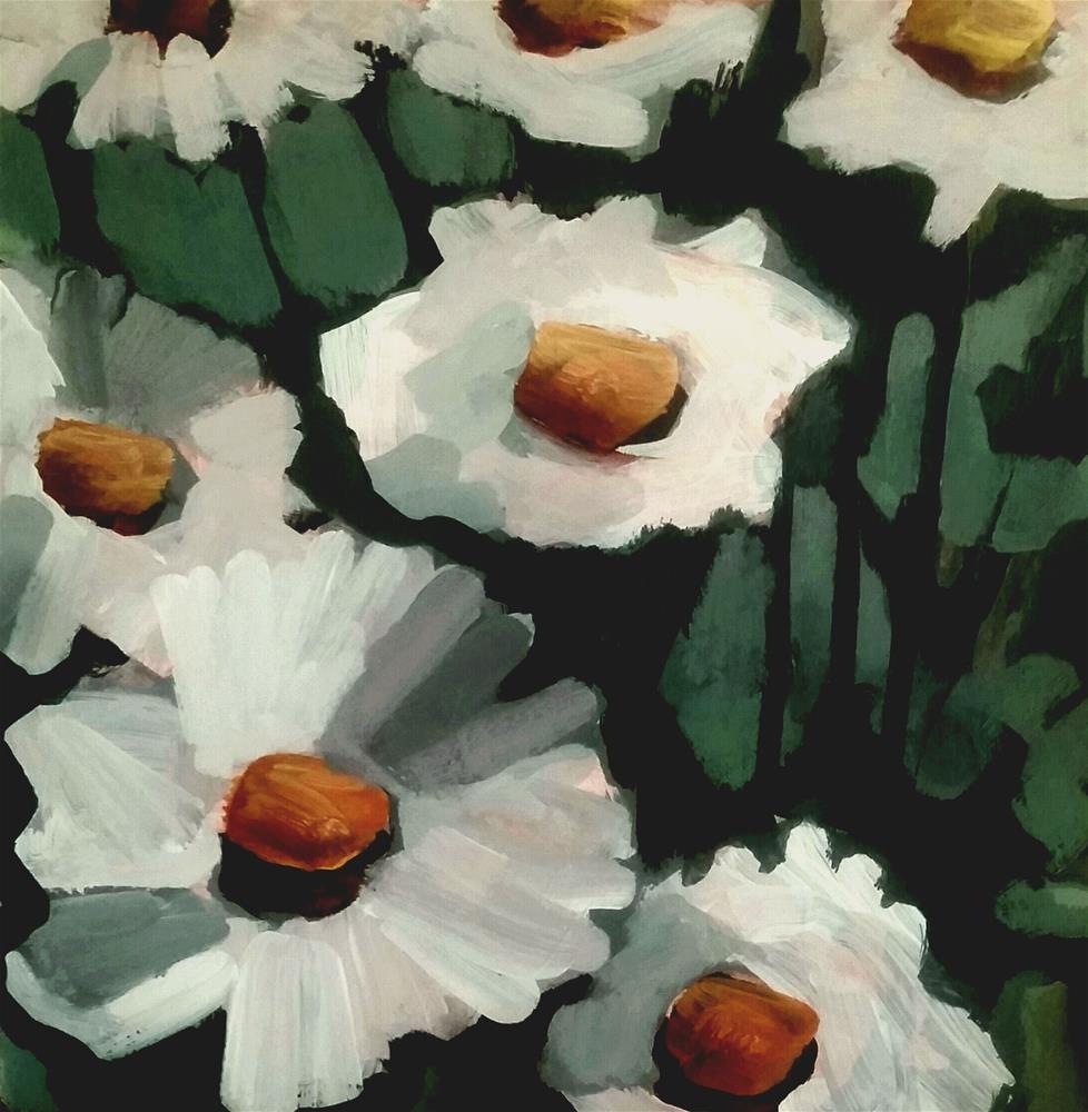 """Daisy Painting"" original fine art by Liz Maynes"