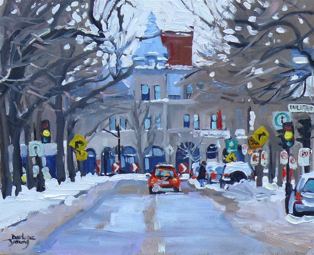 """594 Montreal Winter Scene, The Village"" original fine art by Darlene Young"