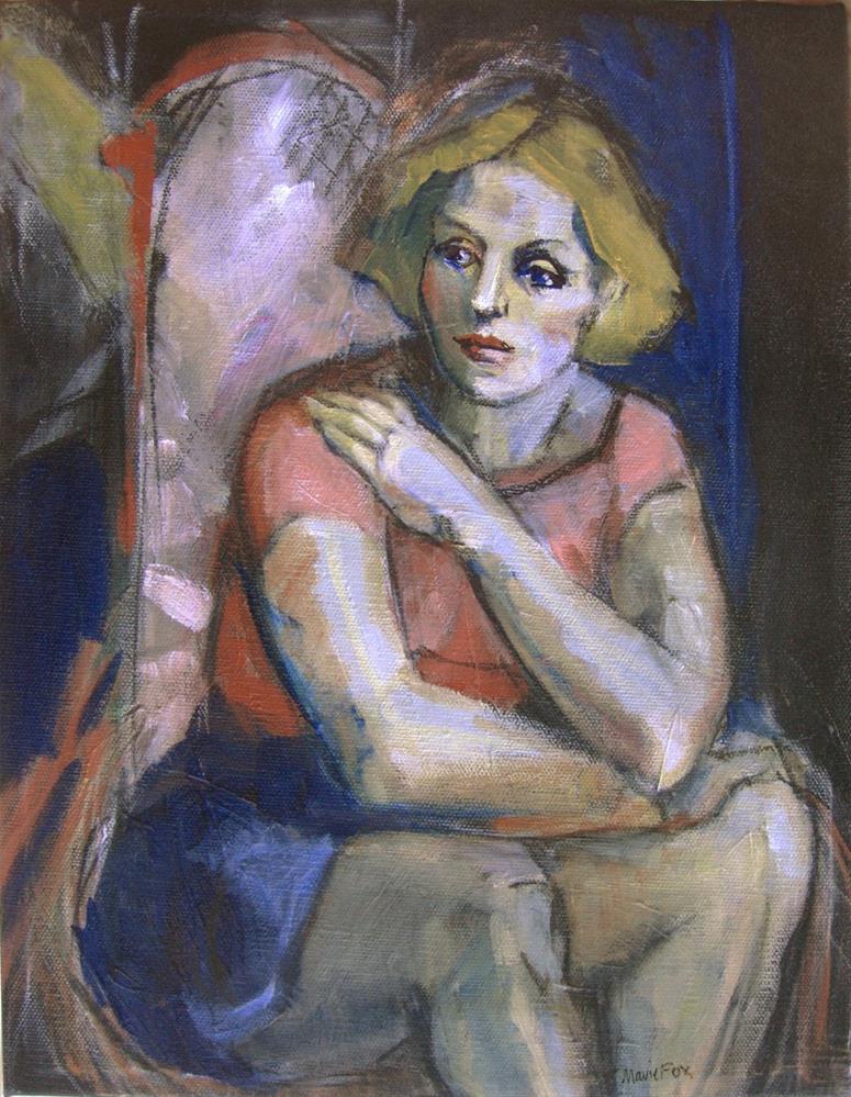 """Figurative painting of seated woman, contemporary figure painter, female figuration, women art"" original fine art by Marie Fox"