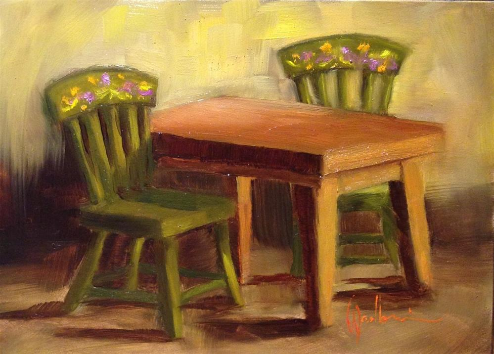 """""""Doll Farmhouse Table and Chairs"""" original fine art by Dorothy Woolbright"""