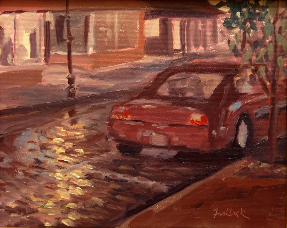 """Rainy Night en plein air"" original fine art by Daniel Fishback"