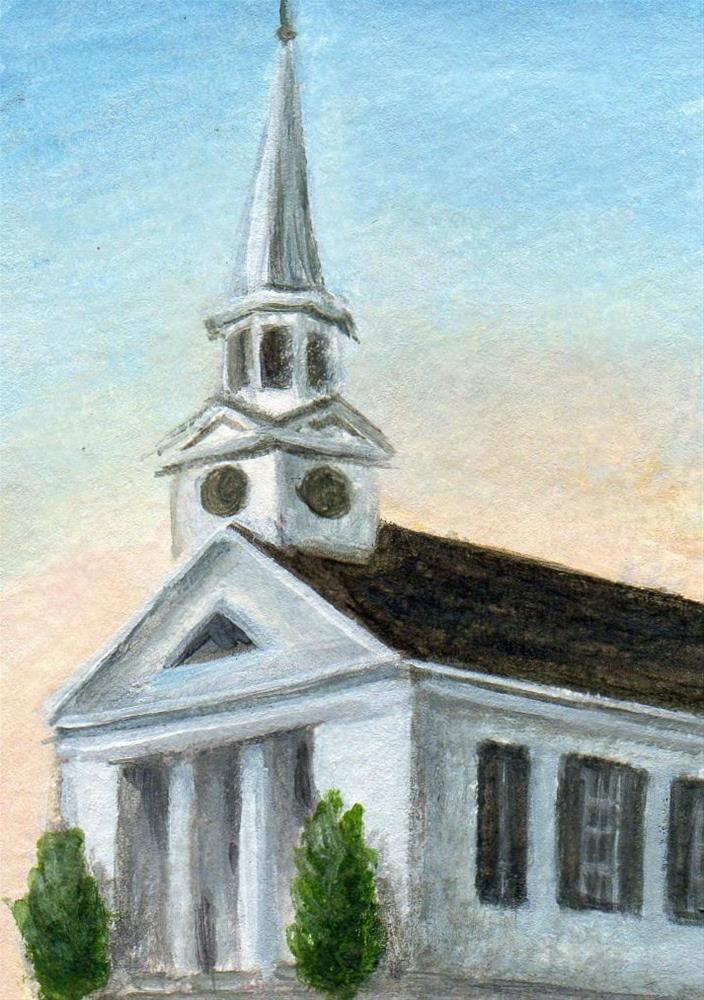 """First Church Wenham at Dusk"" original fine art by Debbie Shirley"