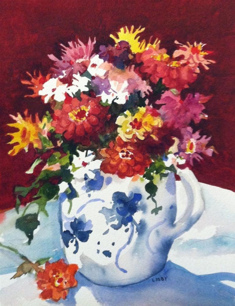 """Zinnia Vase"" original fine art by Libby Anderson"