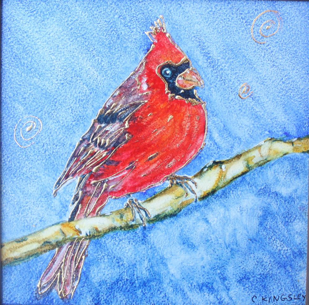 """Elegant Cardinal (framed)"" original fine art by Christiane Kingsley"