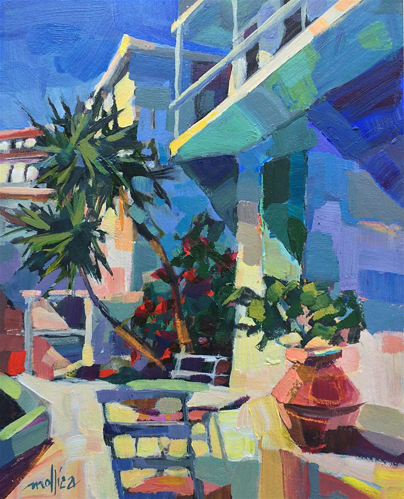 """Greek Courtyard"" original fine art by Patti Mollica"