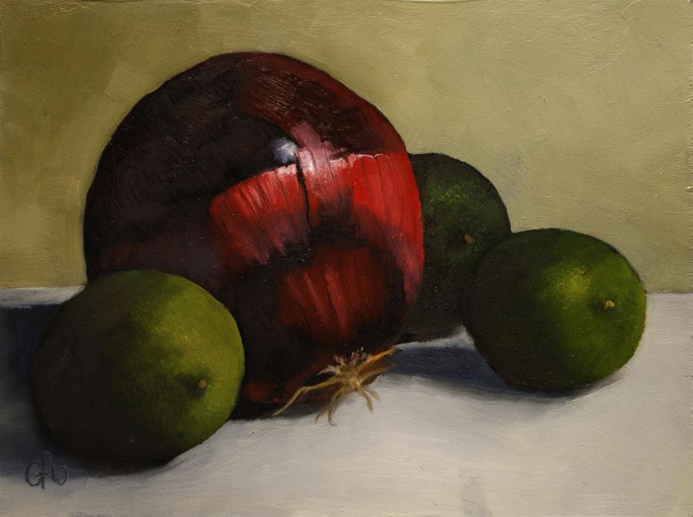 """""""Red Onion and Limes"""" original fine art by Gary Westlake"""