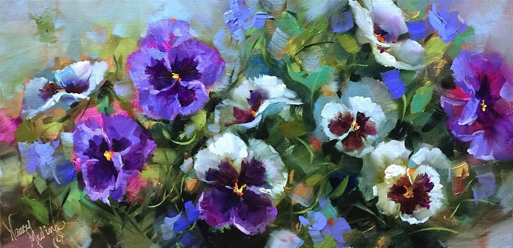"""Fly Away Pansies and an Online Workshop"" original fine art by Nancy Medina"