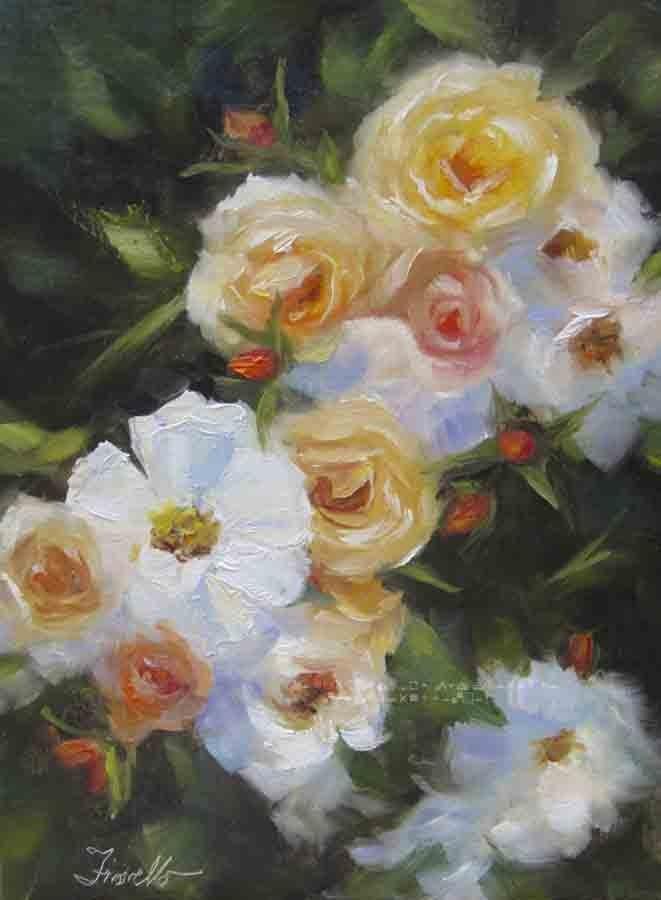 """Cascading Roses"" original fine art by Pat Fiorello"