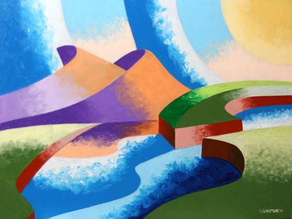 """""""Mark Webster - Ice Cream Sunset - Abstract Geometric Landscape Oil Painting"""" original fine art by Mark Webster"""