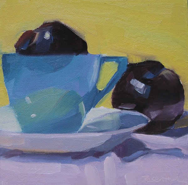 """""""Blue Cup and Plums"""" original fine art by Robin Rosenthal"""