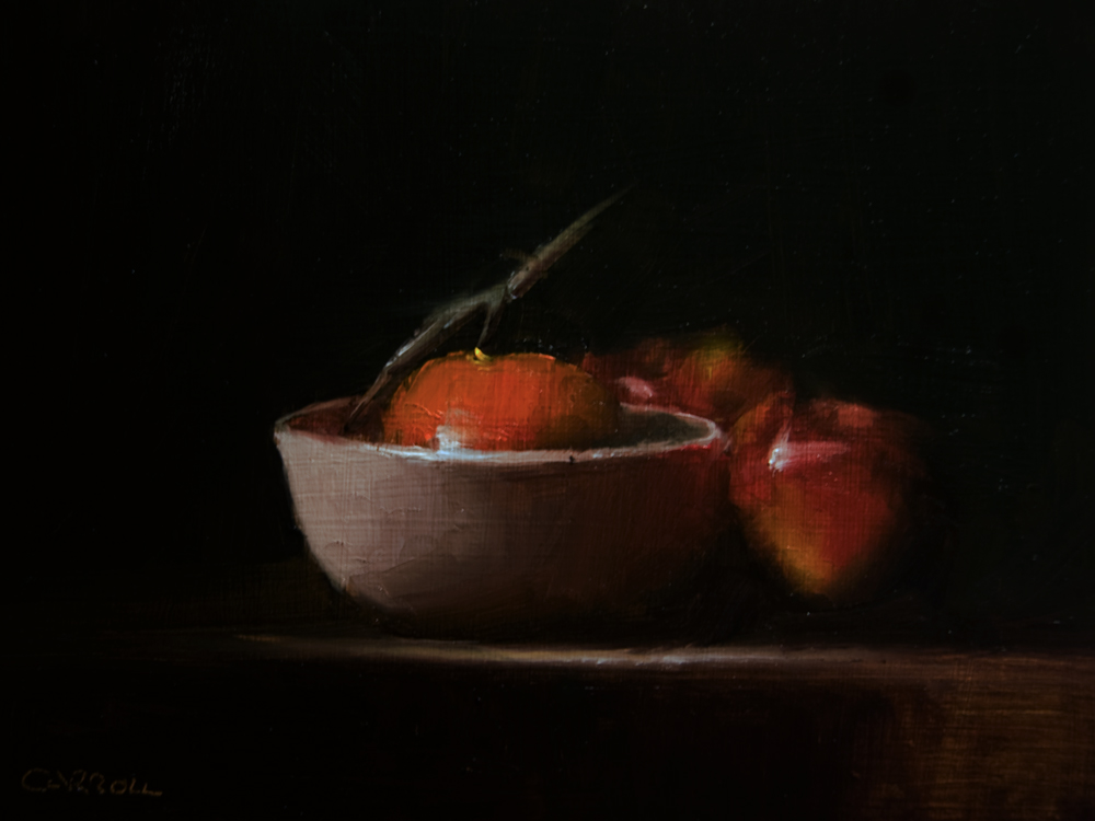 """""""Clementine in Bowl with Apples"""" original fine art by Neil Carroll"""