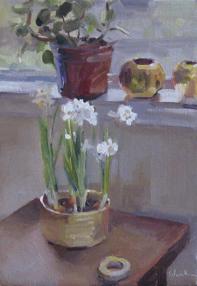 """""""Paperwhites by the Window floral painting interior scene flowers oil on canvas"""" original fine art by Sarah Sedwick"""