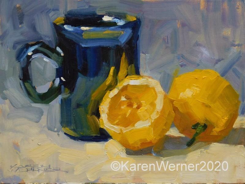 """""""Lemon Juice"""" original fine art by Karen Werner"""