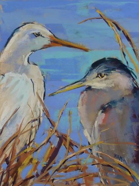 """Behind the Scenes ...Heron and Egret Painting"" original fine art by Karen Margulis"