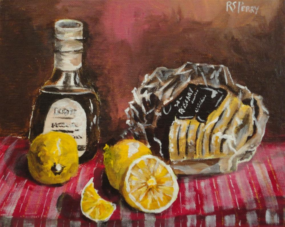"""""""Bread, Lemons, and a Bottle of Syrup"""" original fine art by R. S. Perry"""