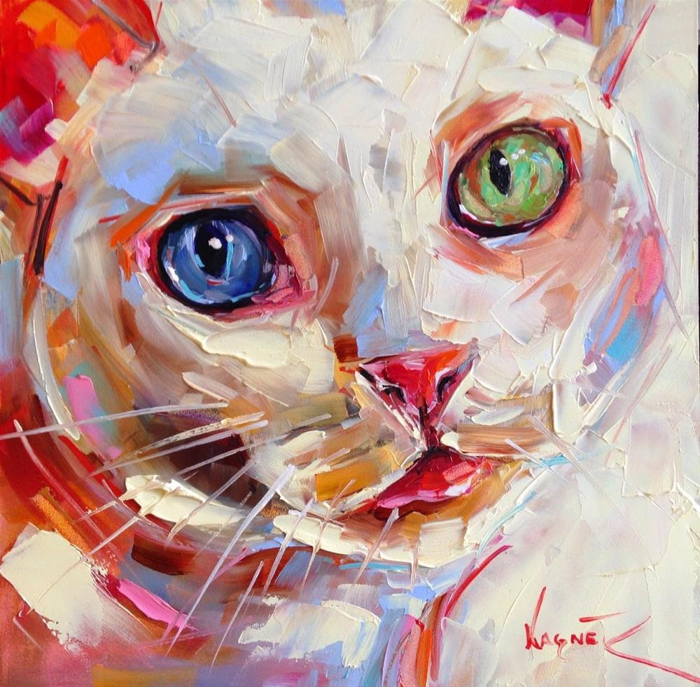 """""""Loving Color Day 2 - ORIGINAL WHITE CAT PAINTING in OIlS by OLGA WAGNER"""" original fine art by Olga Wagner"""
