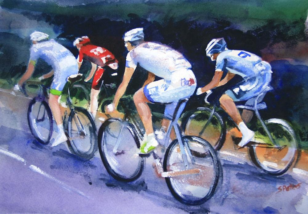 """Riders on Le Tour"" original fine art by Shirley Peters"