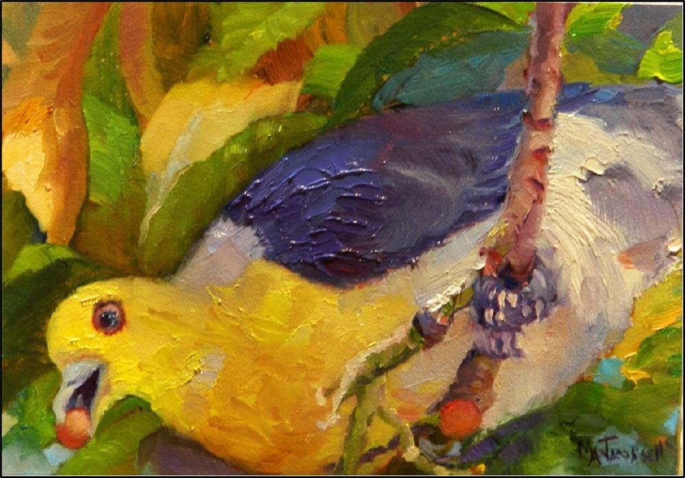 """Berry Pickin', 5x7, oil on panel, yellow, purple, berries, yellow bird, red berries"" original fine art by Maryanne Jacobsen"