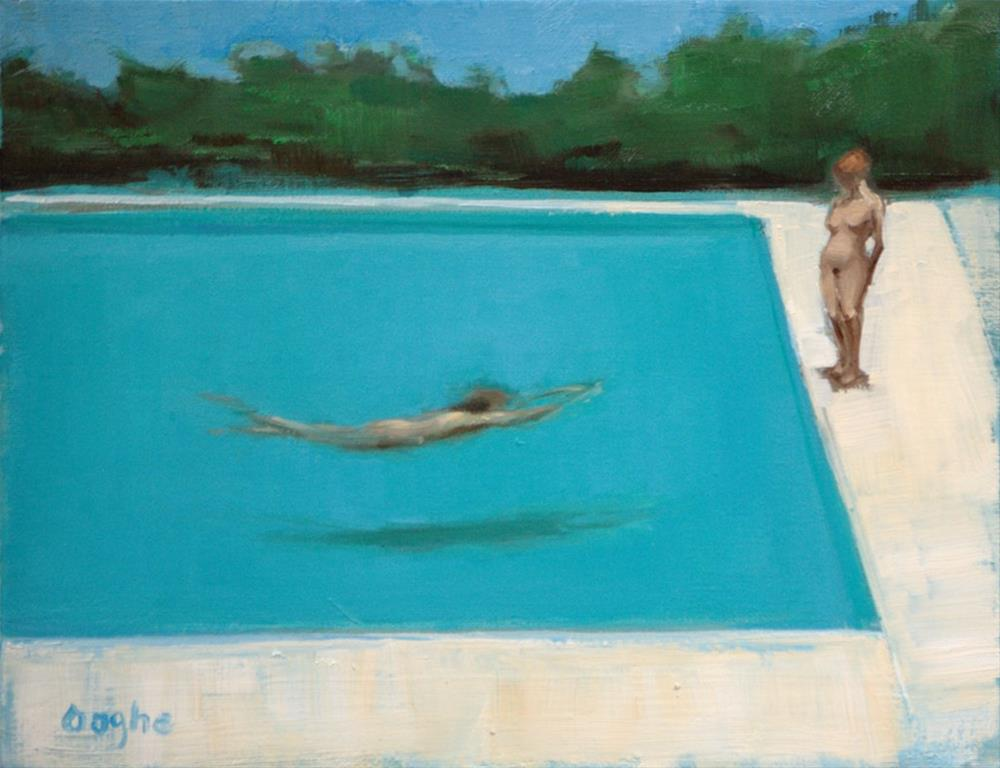 """Standing by the Pool"" original fine art by Angela Ooghe"