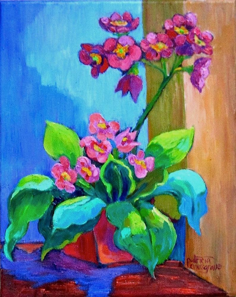 """Pink Primroses"" original fine art by Patricia Musgrave"