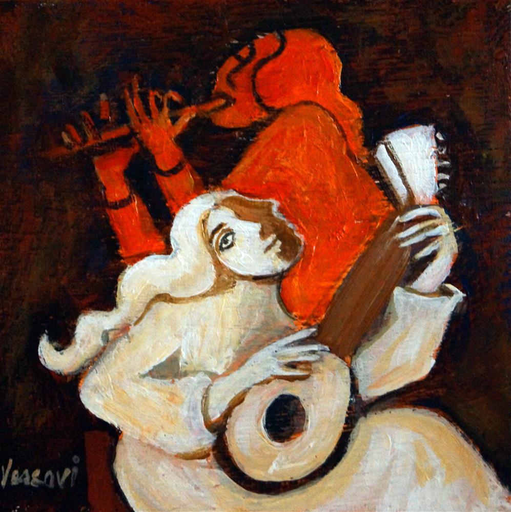 """Lute & Flute Player"" original fine art by Valerie Vescovi"