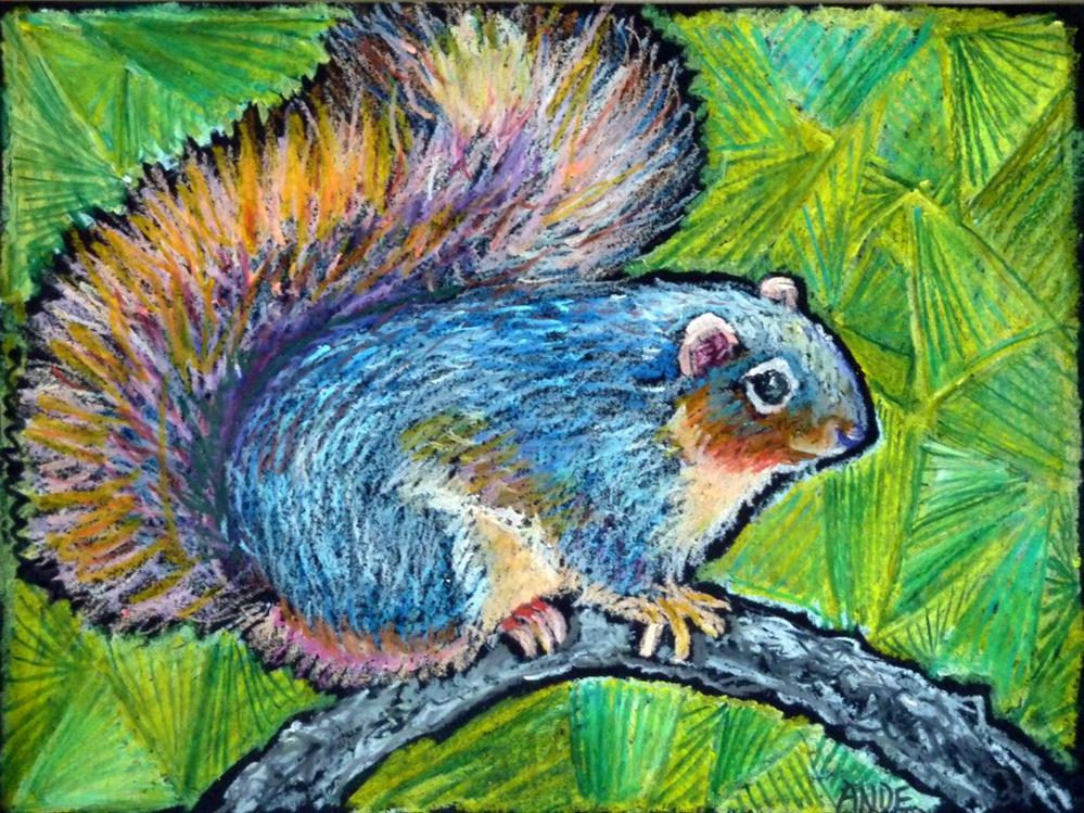 """""""Bushy Blue Fox Squirrel"""" original fine art by Ande Hall"""