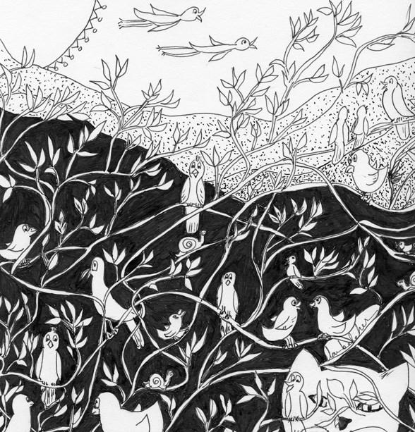 """Bird Convention"" original fine art by Lou Belcher"