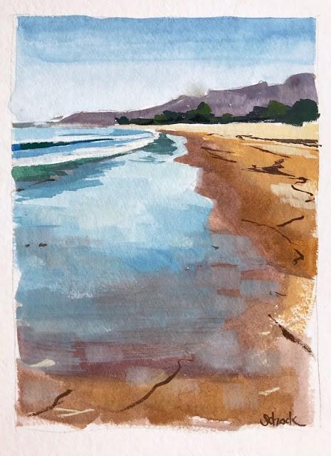 """""""Wet Sand - gouache"""" original fine art by Sharon Schock"""