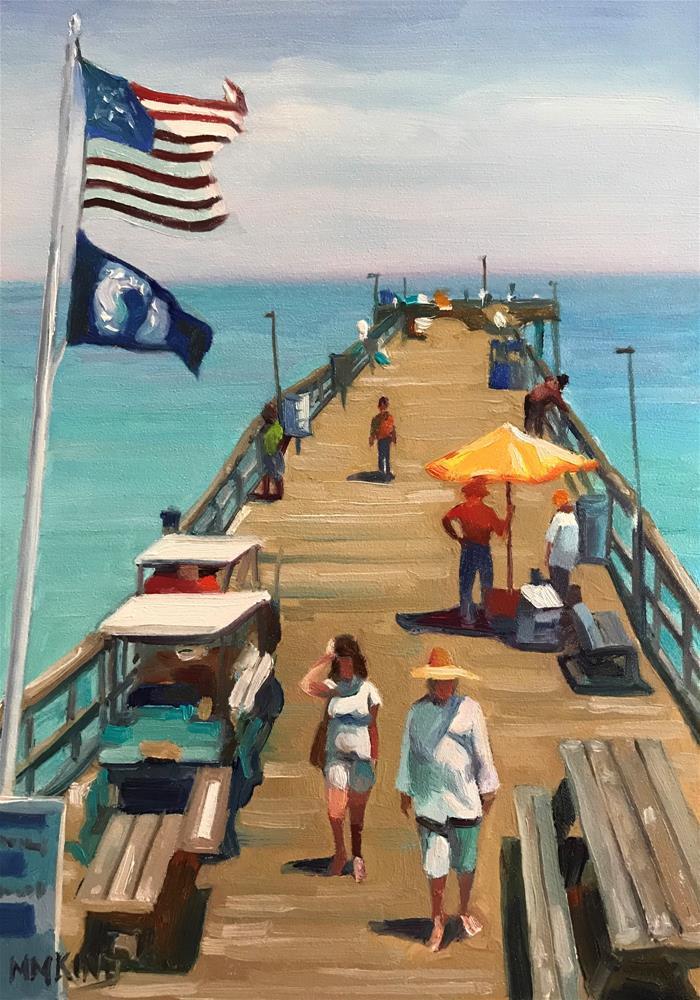 """Avalon Fishing Pier, Kill Devil Hill, NC"" original fine art by Marilyn M King"