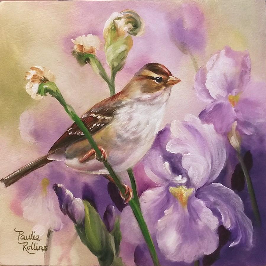 """A Visit to the Irises"" original fine art by Paulie Rollins"