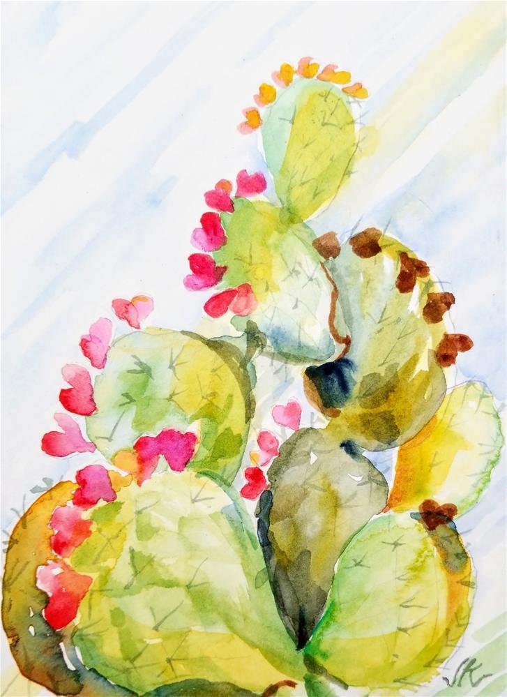 """Opuntia Cor - Heart Cactus"" original fine art by Jean Krueger"