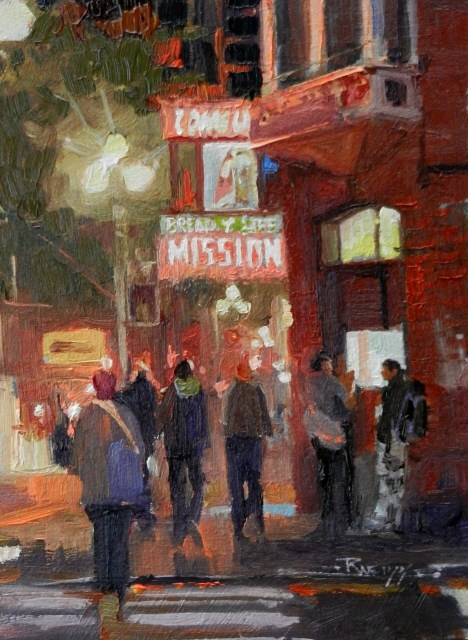 """Waiting for Warmth Bread of life Mission, Seattle cityscape by Robin Weiss"" original fine art by Robin Weiss"