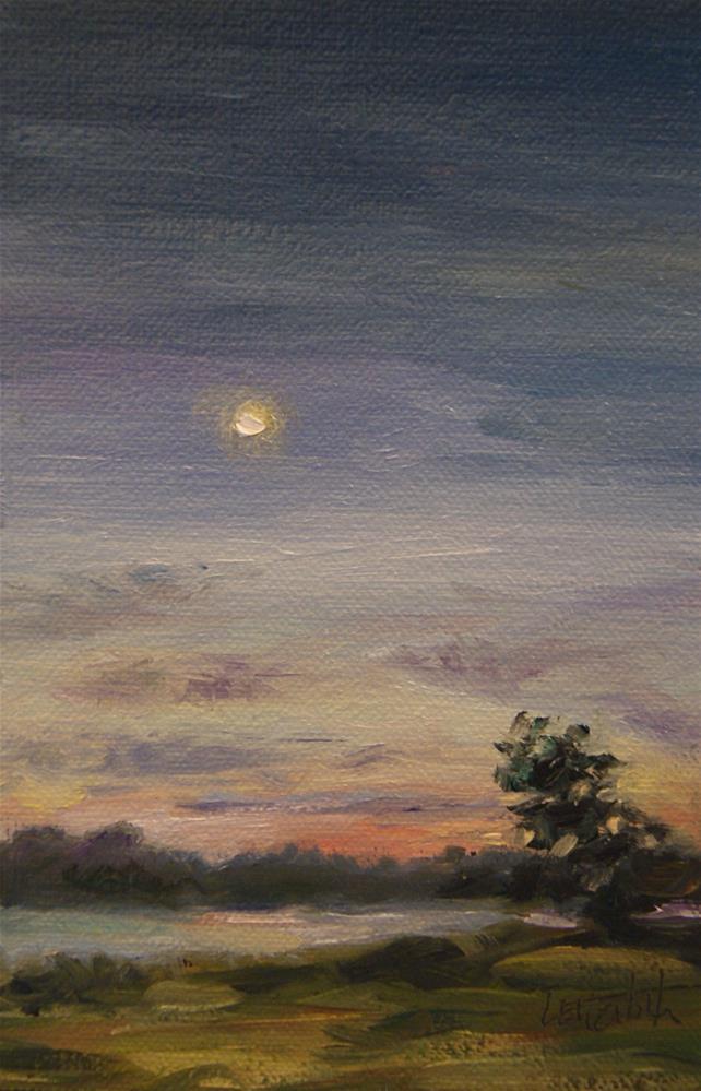 """Moon Over Table Rock Lake,  Oil on 4x6 Linen Panel"" original fine art by Carolina Elizabeth"