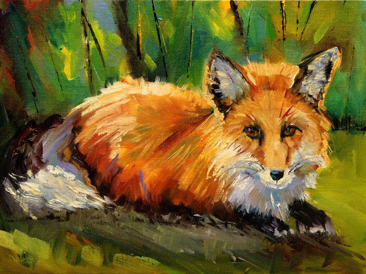 """ARTOUTWEST FOX PAINTING WILDLIFE ART OIL PAINTING ORIGINAL"" original fine art by Diane Whitehead"