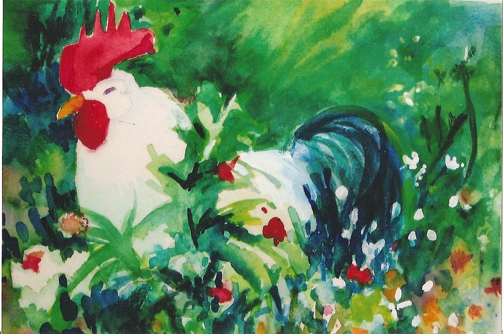 """rooster"" original fine art by meribeth coyne"