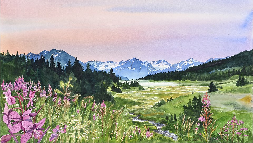 """""""Alaska's Mountains and Meadows"""" original fine art by Andy Sewell"""