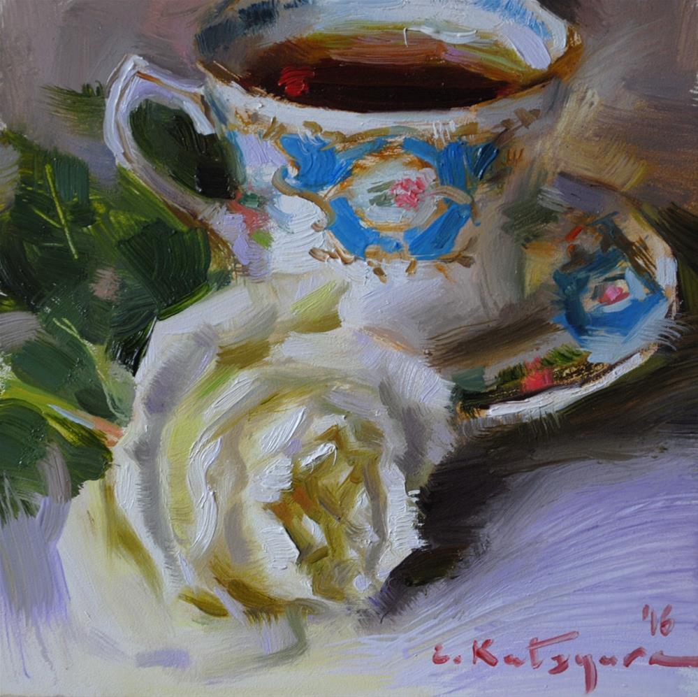"""Teacup and White Rose"" original fine art by Elena Katsyura"