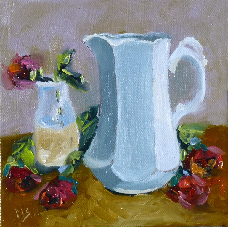 """White Pitcher 14027"" original fine art by Nancy Standlee"
