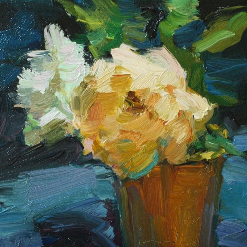 """Roses in Orange Cup"" original fine art by Kathryn Townsend"