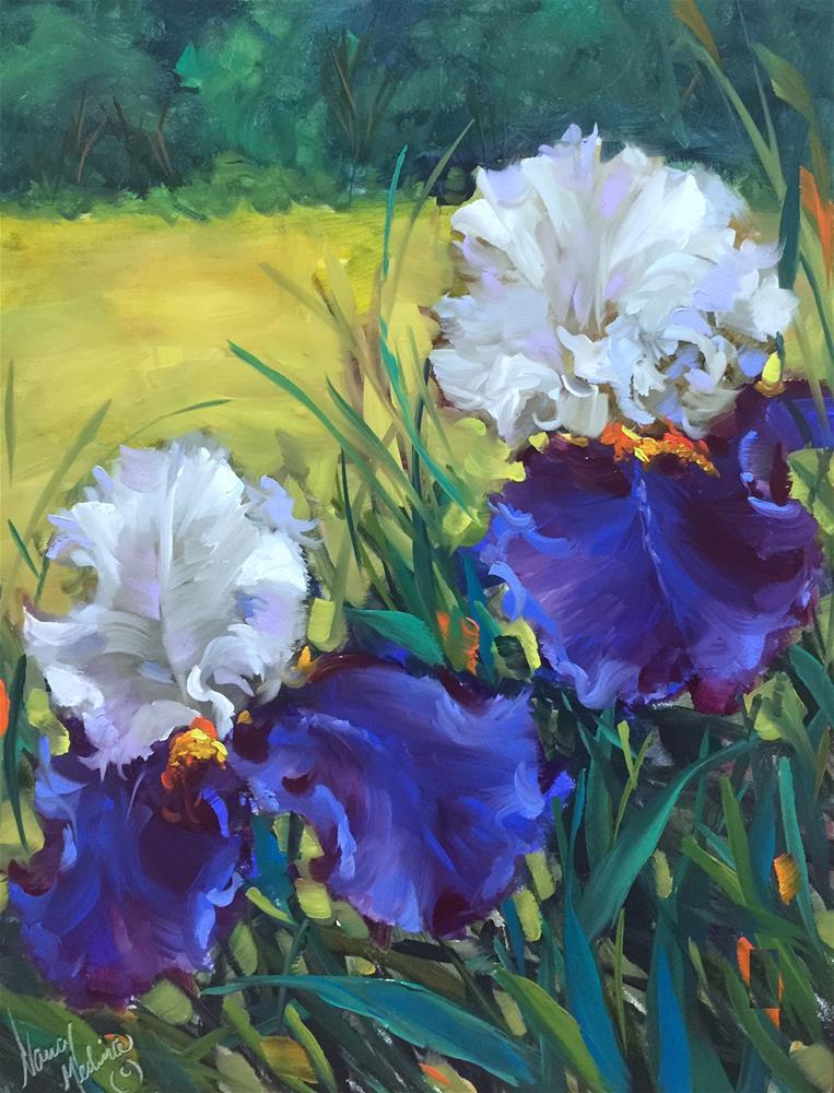 """Spring Fling Iris Dancers and the Countdown Begins!"" original fine art by Nancy Medina"