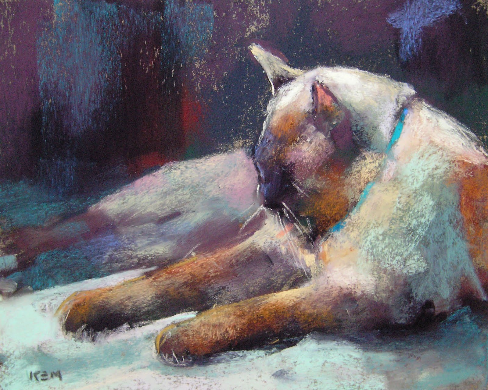 """""""Siamese Cat Pastel with Block in and Palette"""" original fine art by Karen Margulis"""