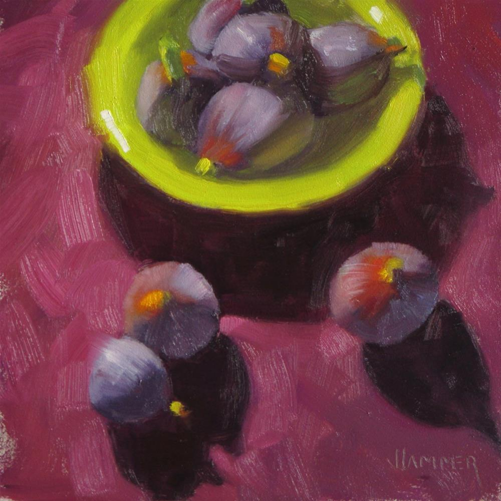 """Figs in, Figs out, Figs are what it's all about 6in x 6in oil"" original fine art by Claudia Hammer"