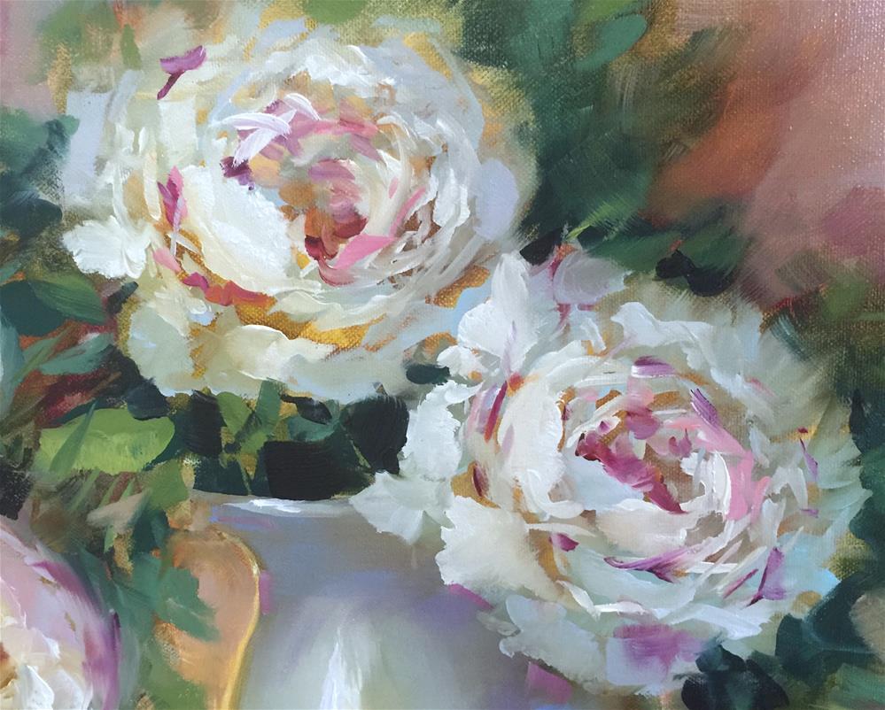 """River Run Peonies and a New Braunfels, Texas, Workshop"" original fine art by Nancy Medina"