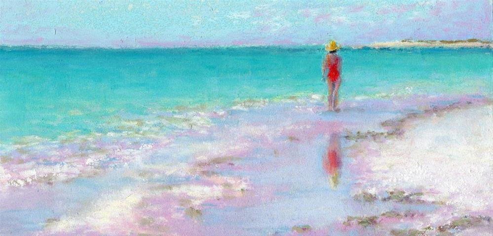 """Walk on the Beach Red Swimsuit Coastal Art"" original fine art by Nancy Poucher"
