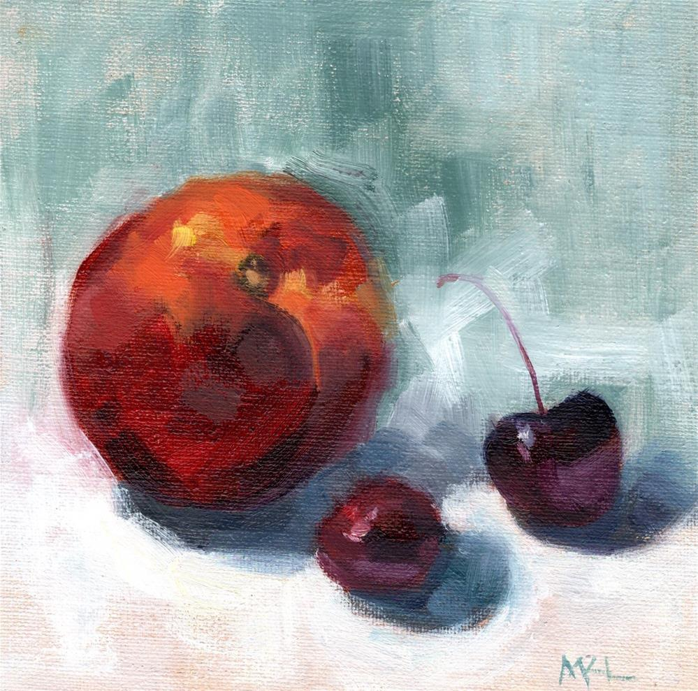 """Nectarine and Cherries"" original fine art by Marlene Lee"