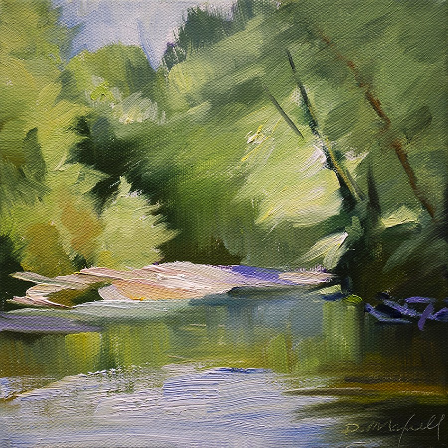 """""""Streaming Light on Shallow River"""" original fine art by Denise Maxwell"""